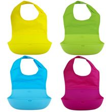 Baby Kids Soft Apron Bibs Solid Nylon Silicone Waterproof Baby Bibs font b Feeding b font