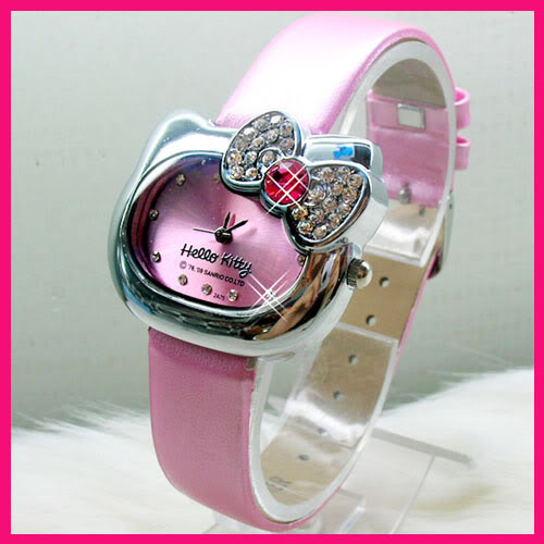 Women's crystal Free Shipping Hello Kitty Bow Tie leather watch,lady wrist watch retail