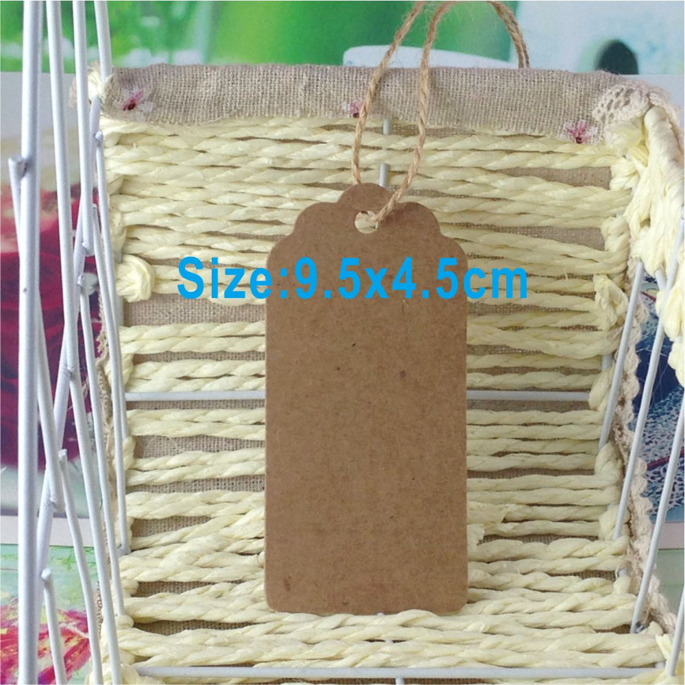 200 tags/lot with free strings Kraft paper labels lace scallops head luggage wedding etiquette Rating DIY chain Blank hang tag(China (Mainland))