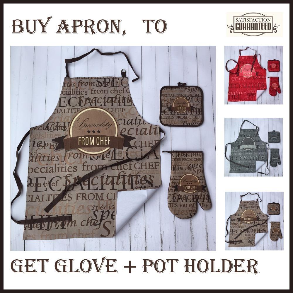 Cotton Twill 3 PCS Apron Glove Pot Holder Kitchen Set Gift(China (Mainland))
