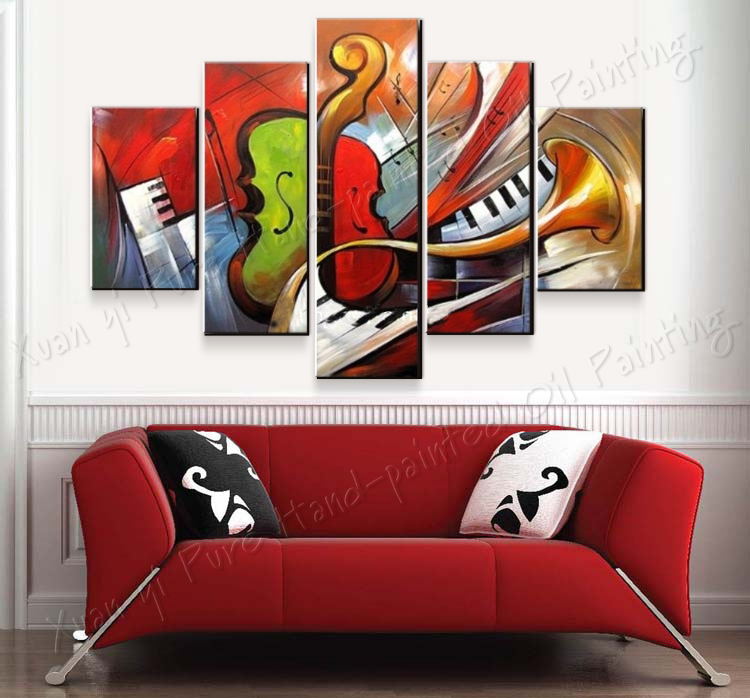 Buy 100 hand painted abstract music paintings wall art 5 panel canvas home Home decor paintings for sale india