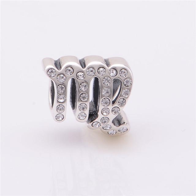 Серебро 925 бусины плавающей дева знак шарм с камнями прозрачных камней подходит пандоры прелести браслеты ожерелья и кулоны