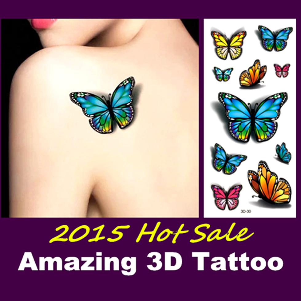 Гаджет  Lifelike 3D Tattoo 20 Types Spider Rose Butterfly Make Up Sticker 19*9cm Waterproof Summer Beach Party Temporary Body Art  None Красота и здоровье