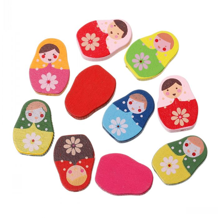 "Wood Spacer Beads Mixed Flower Doll Pattern Print About 22mm x 16mm(7/8"" x 5/8""),Hole:Approx 1.9mm,100PCs(China (Mainland))"
