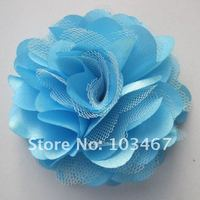 EMS free shipping, 360pcs/lot Lowest Price -21 colors 3'' Satin Mesh Flowers Without Hair Clip lowest price