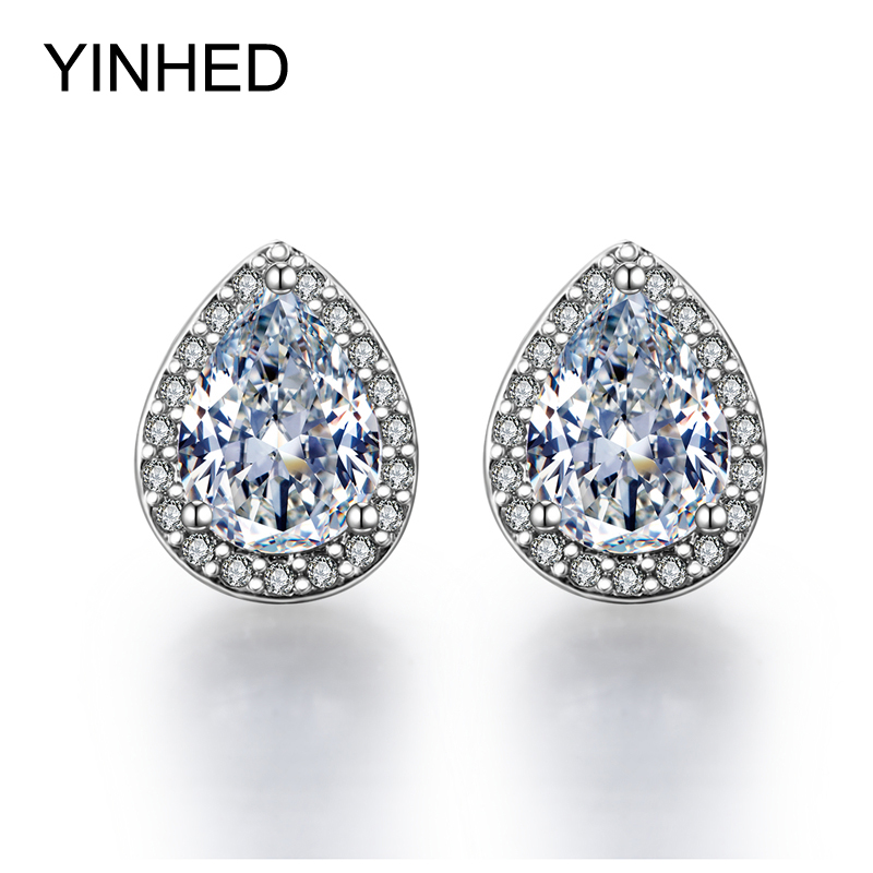 YINHED 925 Sterling Silver Stud Earrings For Women Water Drop CZ Diamond Stud Earrings Fashion Jewelry Bridal Accessories ZE037(China (Mainland))