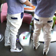 The new autumn Korean children's clothing children's casual pants boys wild white pant suit pants curling dual(China (Mainland))