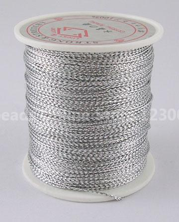 Metallic Cord, In Silver Color, 0.8mm wide, 100m/roll(China (Mainland))
