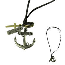 2014 Fashion Jewelry Necklace Cow Leather Men Necklace Punk Retro Cross Anchor Pendants Necklace Long Chain Lovers Gift