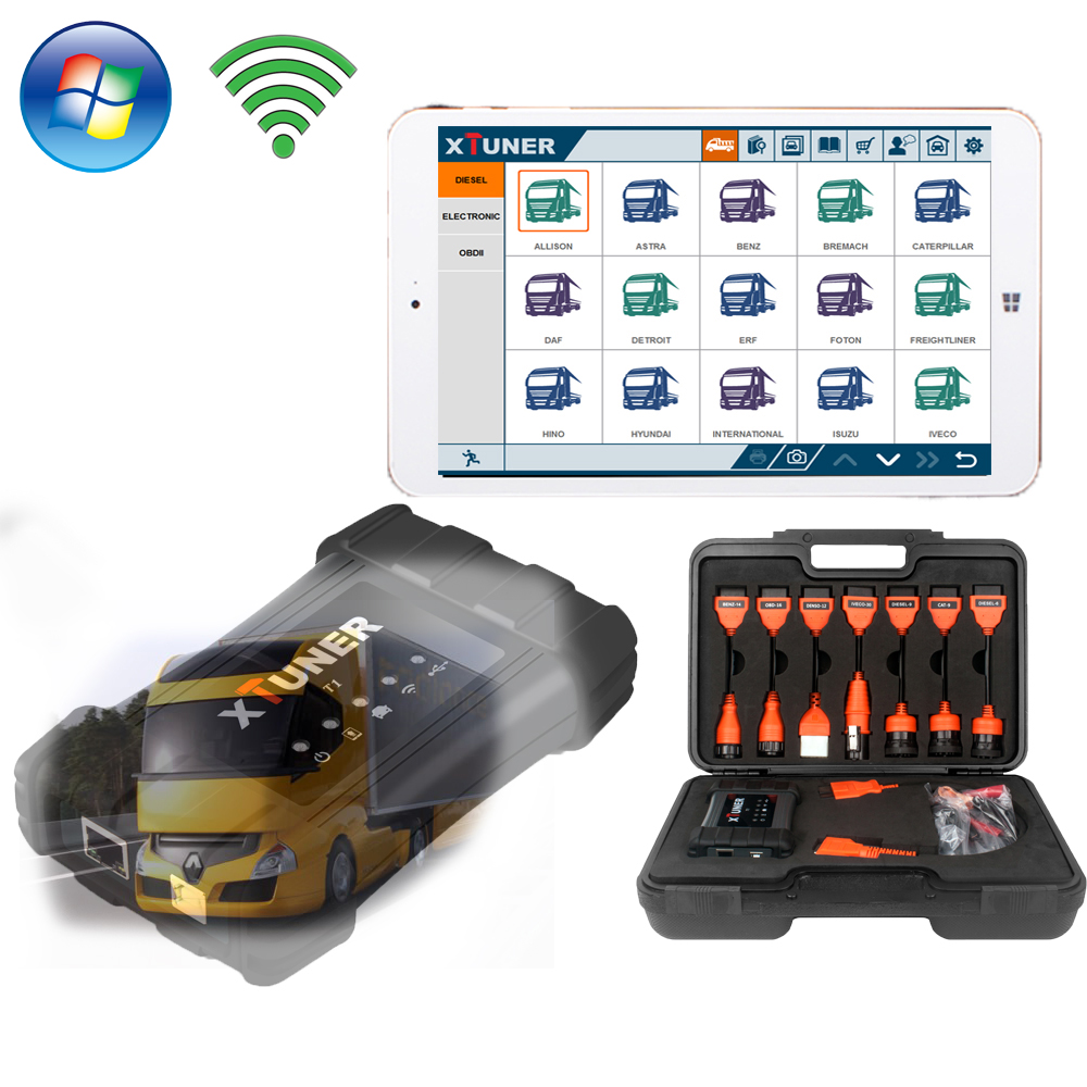 """Windows 10 Tablet PC 7"""" 32g wifi heavy duty truck diagnostic scanner auto testers xtuner t1 for mercedes benz volvo iveco truck(China (Mainland))"""