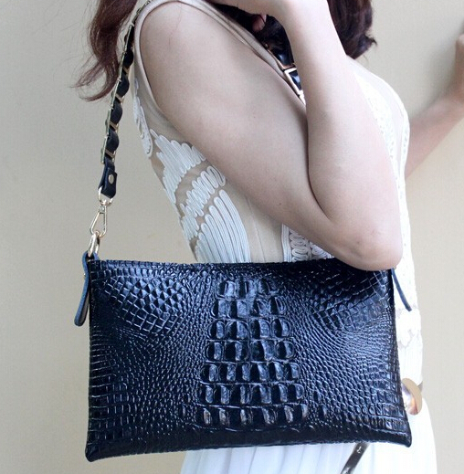 Alligator clutch bag women's clutch crocodile handbag messenger bag small bag free shipping(China (Mainland))