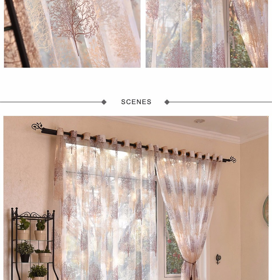 Japanese Style Sheer Tulle Curtains For Living Room