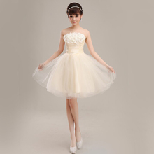 flower short bridesmaid 2016 cost-effective lady prom elegant special occasion dresses Champagne white(China (Mainland))