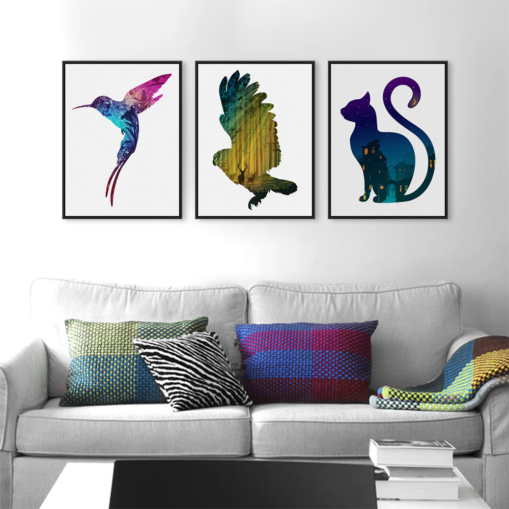 Modern nordic colorful animals silhouette deer elephant canvas a4 print poster wall pictures Colorful elephant home decor