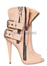 nude/black LEATHER BIKER OPEN TOE BOOTS name brand high heels shoes for women 2014(China (Mainland))