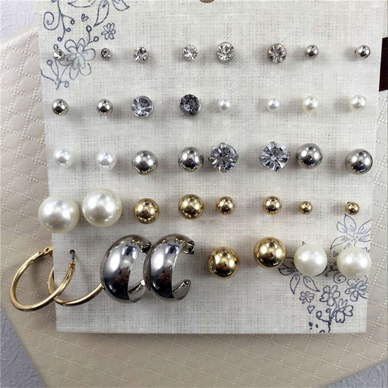 Hot Sale Silver Ball Stud Earrings Set For Women Pack 20 Pairs Pearl Bead Earrings with Crystal Brincos Fine Jewelry(China (Mainland))
