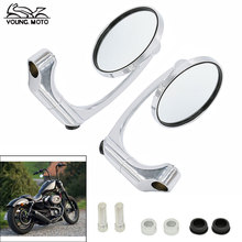 New Aluminum M10 Universal Motorcycle Round Side Handlebar Rear View Mirrors Chrome for Yamaha Kawasaki Honda Suzuki KTM Triumph(China (Mainland))