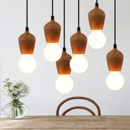 european 100 wood pendant lights vintage black cord. Black Bedroom Furniture Sets. Home Design Ideas