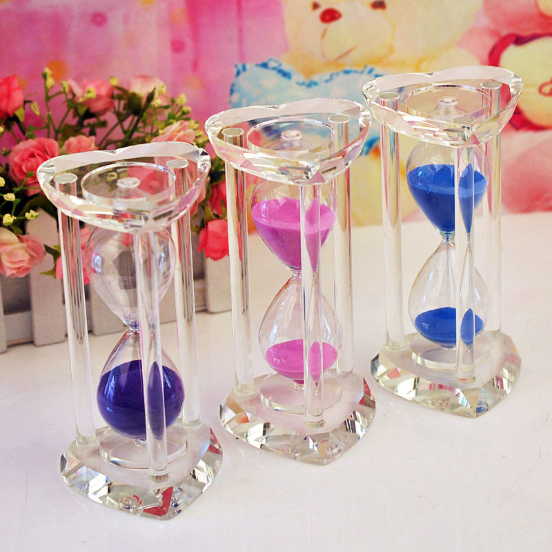 15 minutes crystal hourglass timer decoration wedding gift for Aana decoration wedding accessories