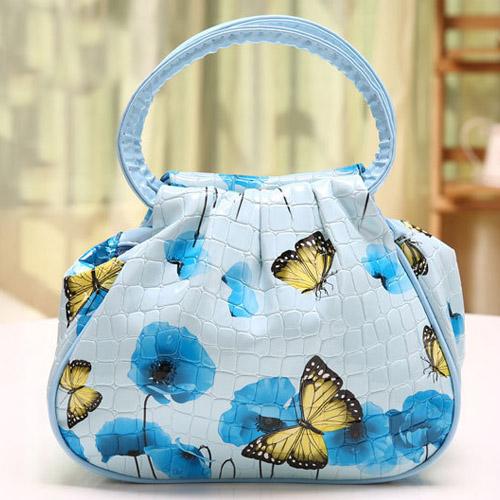 Multi Patterns Fashion Women Handbag Flower Printing Waterproof PVC Carry Bag Tote Lovely Lady Handbags Lunch Picnic Bag(China (Mainland))