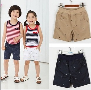 Summer Boy's short 2015 New fashion Girls Boy white Navy Khaki Print Cotton shorts children's clothing,2-6Y(China (Mainland))
