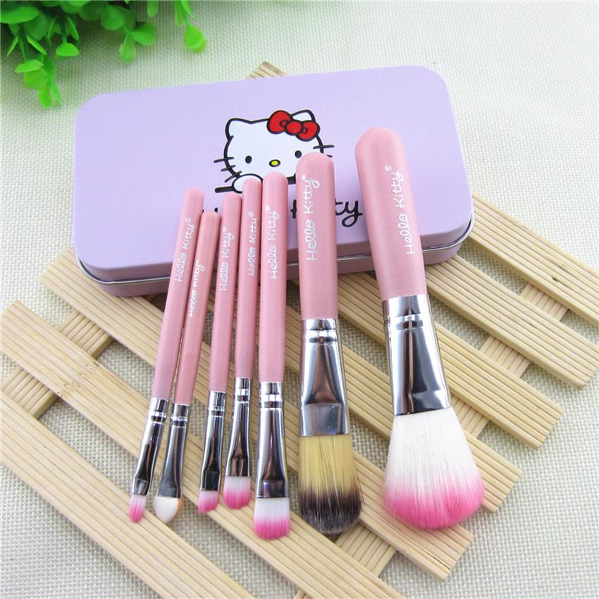 7 Pcs Professional Cosmetic Makeup Brush Set Hello Kitty Powder Foundation Blusher Pink Wooden Handle With Box(China (Mainland))