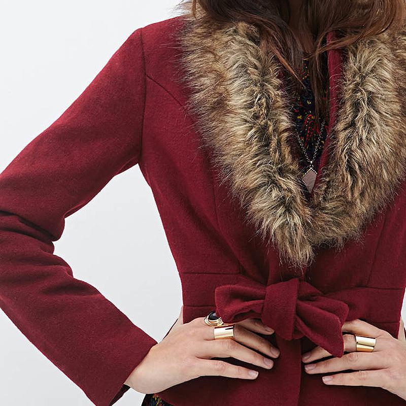 European Style Women  Fashion Sashes Designed Single-Breasted Fur Collar Slim Long Sleeve Short Style Woollen Coat D653(China (Mainland))