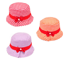 Amazing Fashion Kids Cotton Infant Hat Bow Pearl Plaid Baby Sun Hat Summer Spring Hats(China (Mainland))