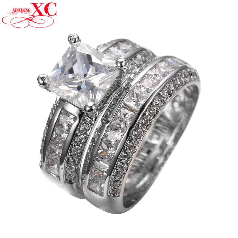 white sapphire wedding ring sets - White Sapphire Wedding Ring Sets