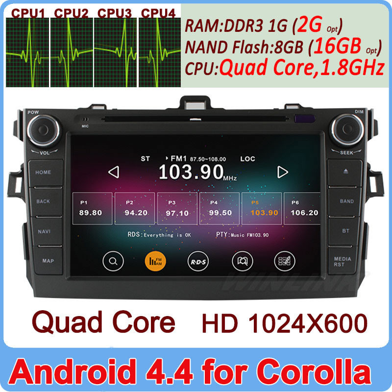 """8"""" New 2 Din Pure Android 4.4.2 Car DVD Player For Toyota Corolla 2006~2011 GPS Radio Navigation PC Capacitive A9 Quad Core Wifi(China (Mainland))"""