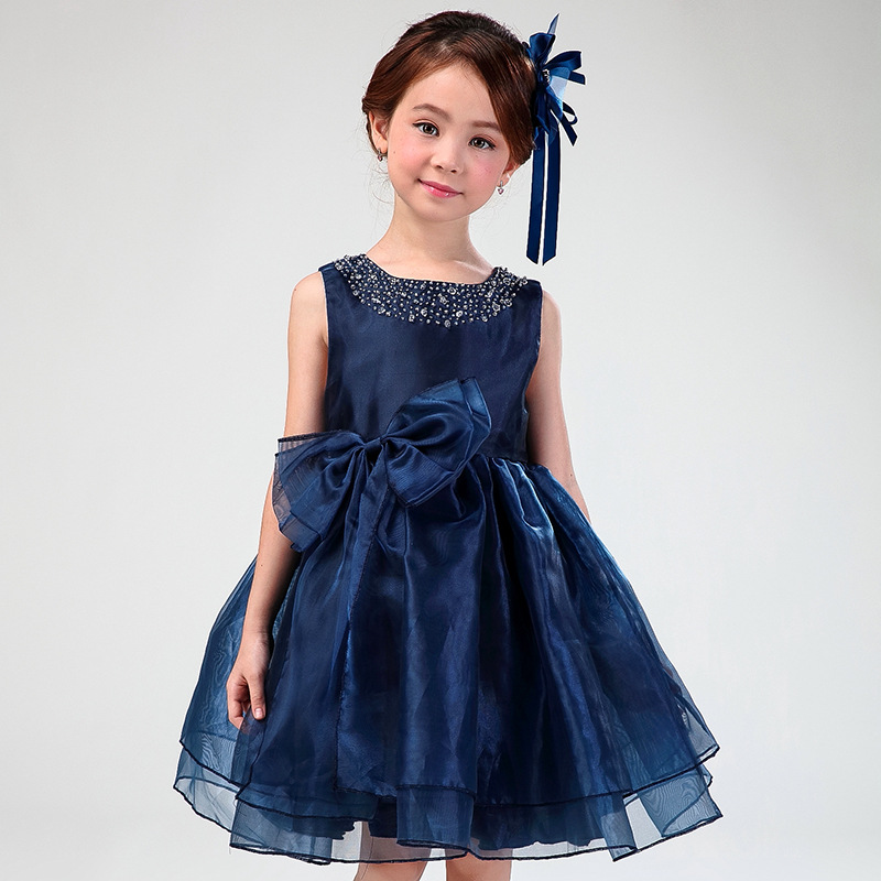 Flower Girl Dresses Child Navy Blue Sleeveless Fancy Formal Vestidos 2016 Kids Clothes For Girls Of 3 To 14 Year Old AKF164082(China (Mainland))