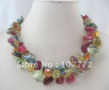 """New 19"""" 2row 17mm natural multicolor crystal necklace free +shippment(China (Mainland))"""