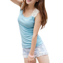 Brand New Women's Cotton Lace Hollow-Out Crochet Sleeveless Casual Solid Color Tank Tops Cami Tee Shirt(China (Mainland))