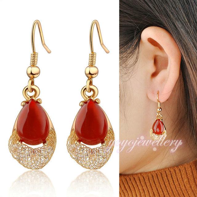 Модный дизайн темно-красный агат камень и 18 К проволоки золото сети сетки кристалл Stardust подвеска серьги CE148