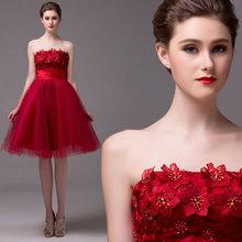 High Quality Red Wine Wedding Dress Short Silk Tube Top Lace Up Puff SkirtVestido De Noiva Burgundy Bride Dress Simple(China (Mainland))