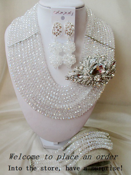 2015 Fashion White african crystal beads necklace set nigerian wedding african beads jewelsry et Free shipping P-2254<br><br>Aliexpress