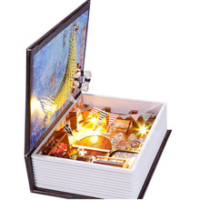 Assembly DIY Wooden House Of Nautical Diary Dollhouse with Led Light,Novelty Book Model Wood Doll House Free Shipping(China (Mainland))