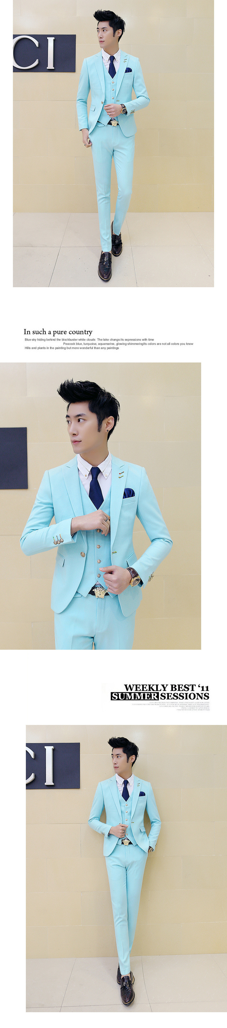 Wholesale- Jacket + Pants Wedding Suits for Men Terno Korean Slim ...