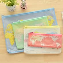 New Creative world Map Pattern A4 A5 B6 Mini File Bag Document Bag A4 File Folder Stationery Filing H1703(China (Mainland))
