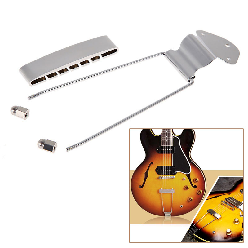 Chrome Guitar Tailpiece Trapeze Open Frame Bridge For 6 String Archtop Guitar(China (Mainland))