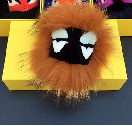 Real Fur Pom Poms Bag Bug Little Monster Bag Charm Keychain Luxury Car Jewelry Pendant of Fox furs Little Monsters Key Chain(China (Mainland))