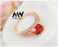 Top Quality Elegant Red Ruby Cubic Zircon Diamond Ring Rose Gold Plated Women Party Jewelry