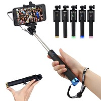 2015 Real Selfie Stick clip Extendable remote wired phone holder Camera Shutter Button Pole Mount Portable Monopod Handheld
