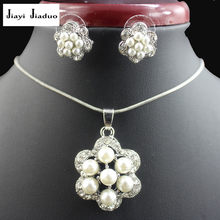 jiayijiaduo Fashion imitation pearl pendant jewelry set for women white color necklace earrings party clothing accessories gift(China)