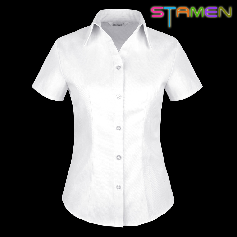 Free shipping 2014 women 39 s white shirt female short sleeve for Women s broadcloth shirts