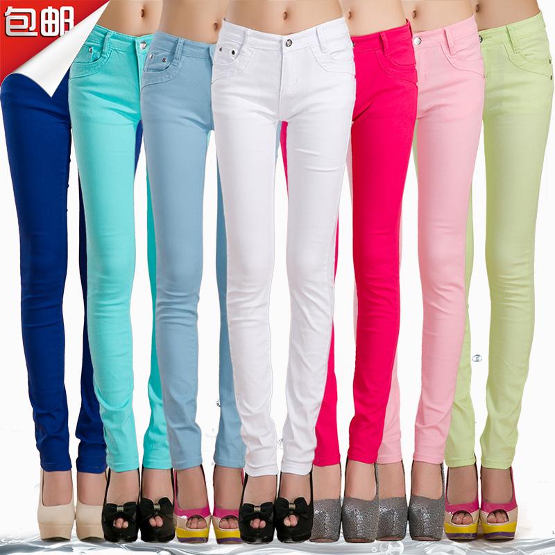 2015 Fall Women's Slim Pencil Pants Candy Colors slacks girl's Stretch Trousers Elastic big Size thin Leisure pants(China (Mainland))