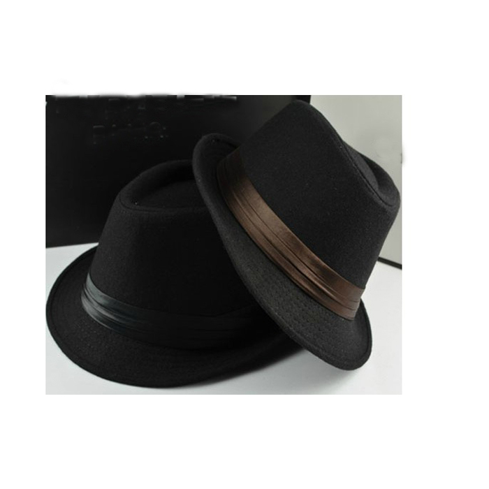 New bowler hat men's fedora casual cap silk decorated Jazz brim Europe style foldable for women & men autumn wool Panama(China (Mainland))