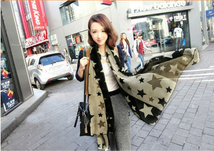 chiffon 160*70 Star design Summer style scarf wraps women print shawls scarves lady - V-Seven Scarf Factory store