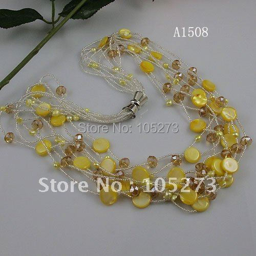 Wholesale Elegant jewelry AA 2-11MM 8rows mixes crystal beads&amp;natural shell&amp;fresh water pearl necklace Magnetic clasps A1508<br><br>Aliexpress
