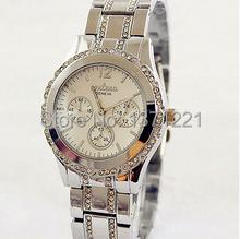 Moda de lujo a estrenar de cuarzo de plata reloj relojes de ginebra Crystal Rhinestone reloj de pulsera reloj reloj montre relogio feminino